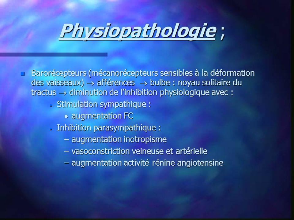 Physiopathologie ; n Barorécepteurs (mécanorécepteurs sensibles à la déformation des vaisseaux) afférences bulbe : noyau solitaire du tractus diminuti