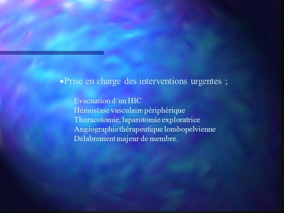 Prise en charge des interventions urgentes ; Evacuation dun HIC Hémostase vasculaire périphérique Thoracotomie, laparotomie exploratrice Angiographie