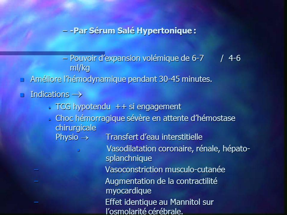 –-Par Sérum Salé Hypertonique : –Pouvoir dexpansion volémique de 6-7/ 4-6 ml/kg n Améliore lhémodynamique pendant 30-45 minutes. n Indications n Indic