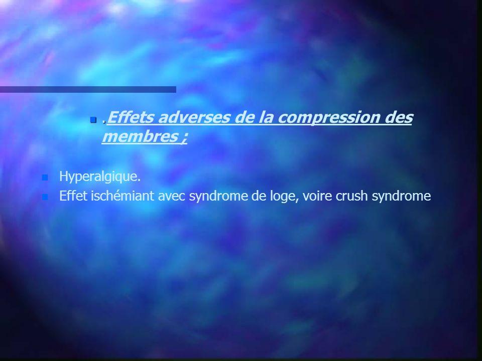 n. n.Effets adverses de la compression des membres ; n n Hyperalgique. n n Effet ischémiant avec syndrome de loge, voire crush syndrome