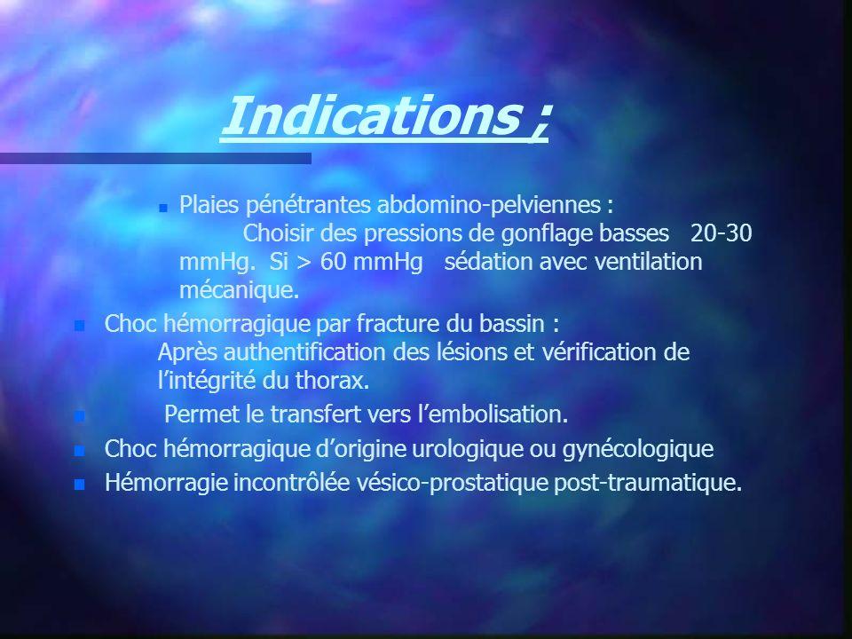 Indications ; n n Plaies pénétrantes abdomino-pelviennes : Choisir des pressions de gonflage basses 20-30 mmHg. Si > 60 mmHg sédation avec ventilation