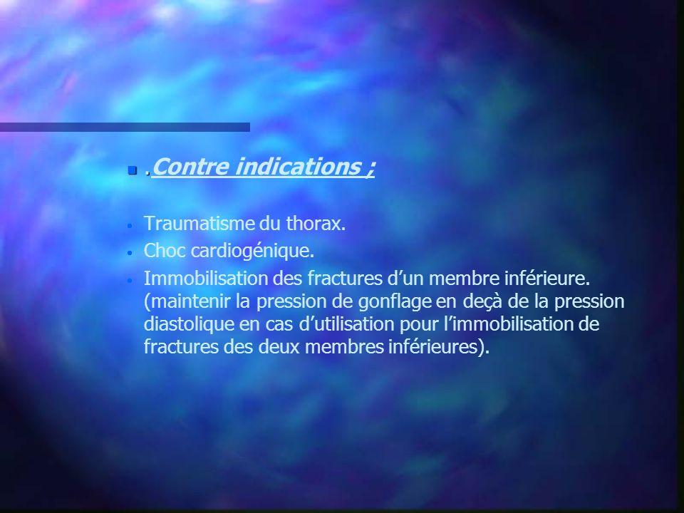 n. n.Contre indications ; Traumatisme du thorax. Choc cardiogénique. Immobilisation des fractures dun membre inférieure. (maintenir la pression de gon