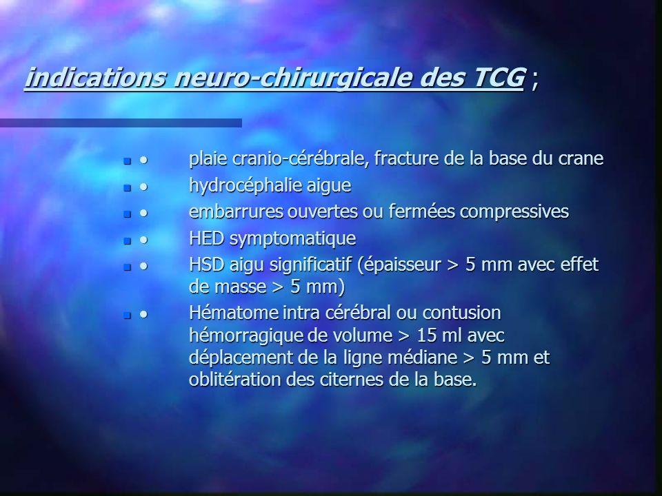 indications neuro-chirurgicale des TCG ; plaie cranio-cérébrale, fracture de la base du crane plaie cranio-cérébrale, fracture de la base du crane hyd