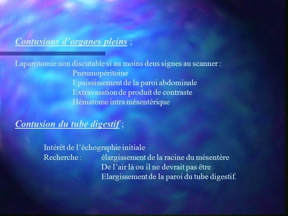 Contusions dorganes pleins ; Laparotomie non discutable si au moins deus signes au scanner : Pneumopéritoine Epaississement de la paroi abdominale Ext