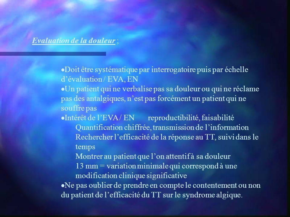 Evaluation de la douleur ; Doit être systématique par interrogatoire puis par échelle dévaluation / EVA, EN Un patient qui ne verbalise pas sa douleur