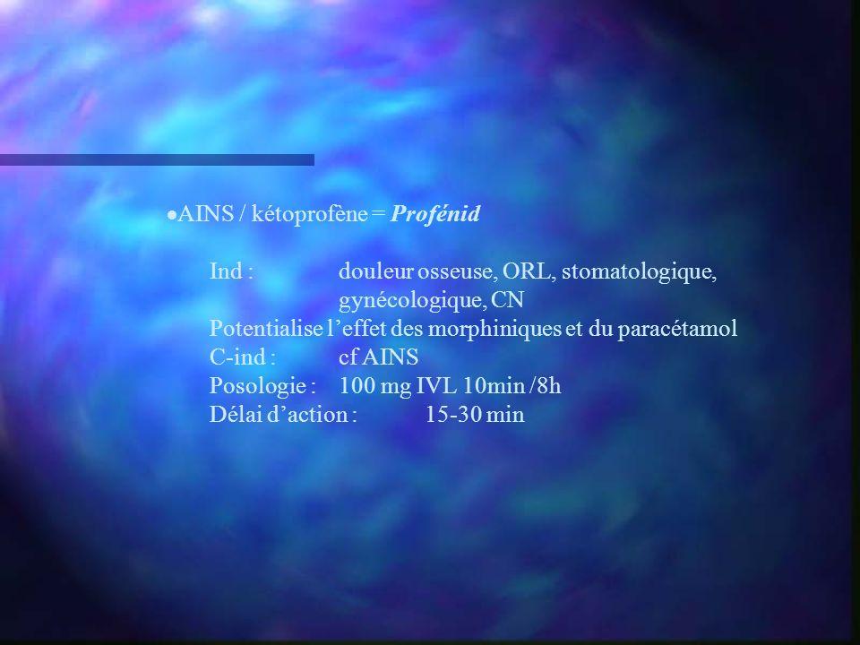 AINS / kétoprofène = Profénid Ind :douleur osseuse, ORL, stomatologique, gynécologique, CN Potentialise leffet des morphiniques et du paracétamol C-in