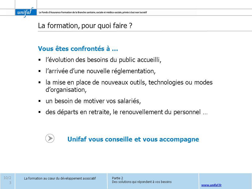 www.unifaf.fr La formation, pour quoi faire ? Vous êtes confrontés à … lévolution des besoins du public accueilli, larrivée dune nouvelle réglementati