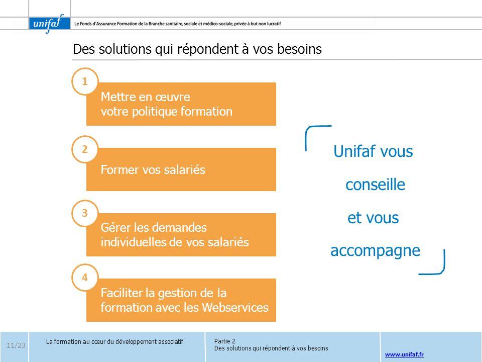 www.unifaf.fr Des solutions qui répondent à vos besoins La formation au cœur du développement associatif 11/23 Mettre en œuvre votre politique formati