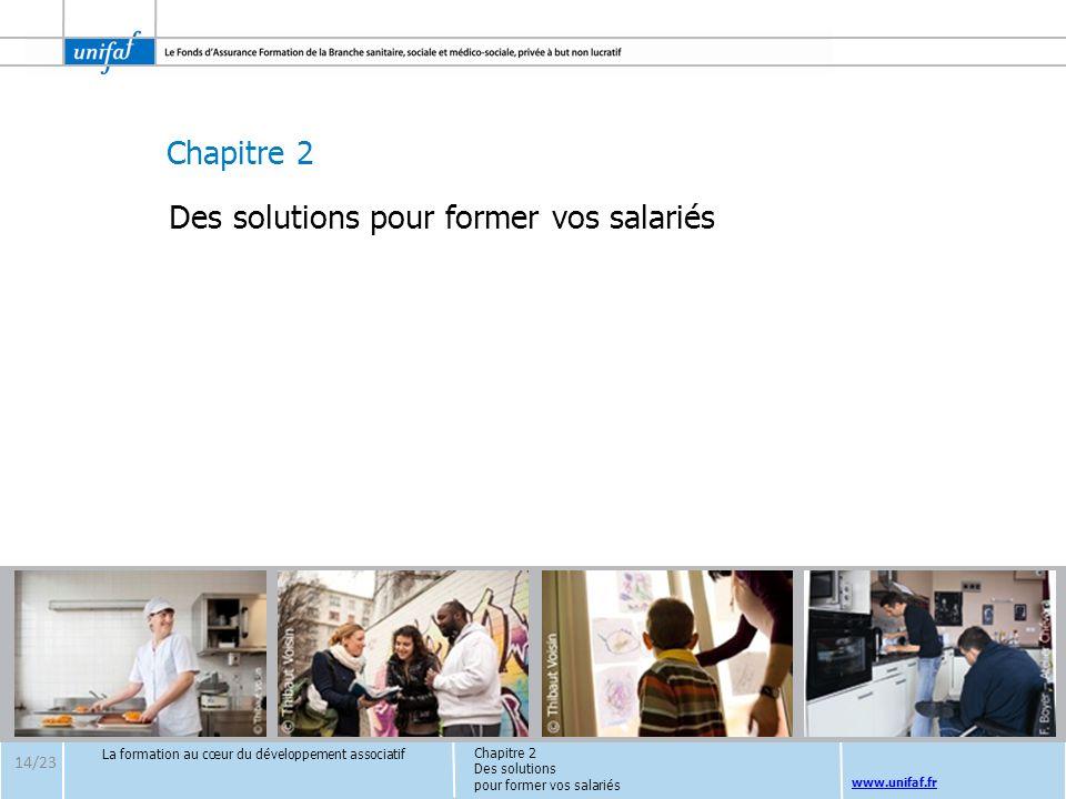 Chapitre 2 www.unifaf.fr Chapitre 2 Des solutions pour former vos salariés La formation au cœur du développement associatif Des solutions pour former