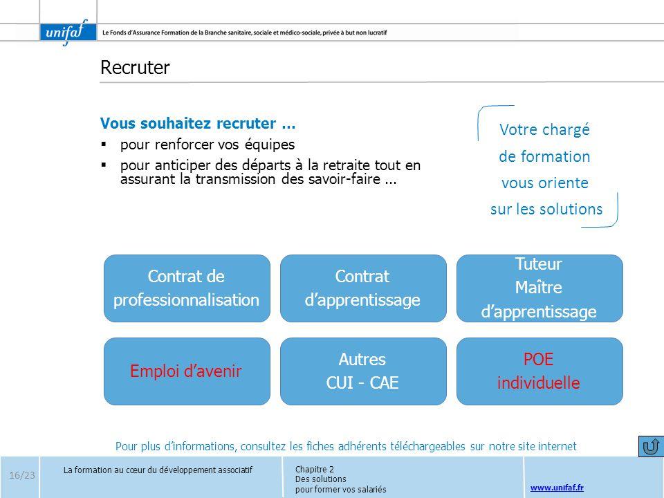 www.unifaf.fr Recruter Vous souhaitez recruter … pour renforcer vos équipes pour anticiper des départs à la retraite tout en assurant la transmission