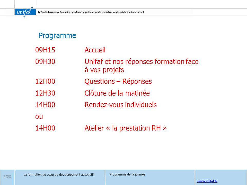 Programme www.unifaf.fr 09H15Accueil 09H30Unifaf et nos réponses formation face à vos projets 12H00Questions – Réponses 12H30Clôture de la matinée 14H