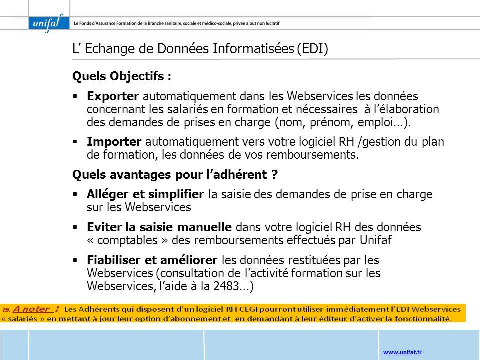 www.unifaf.fr L Echange de Données Informatisées (EDI) Quels Objectifs : Exporter automatiquement dans les Webservices les données concernant les sala