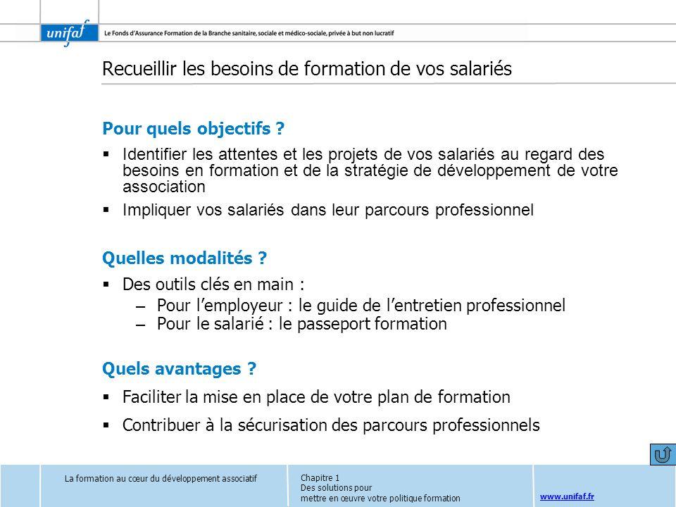 www.unifaf.fr Recueillir les besoins de formation de vos salariés Pour quels objectifs ? Identifier les attentes et les projets de vos salariés au reg