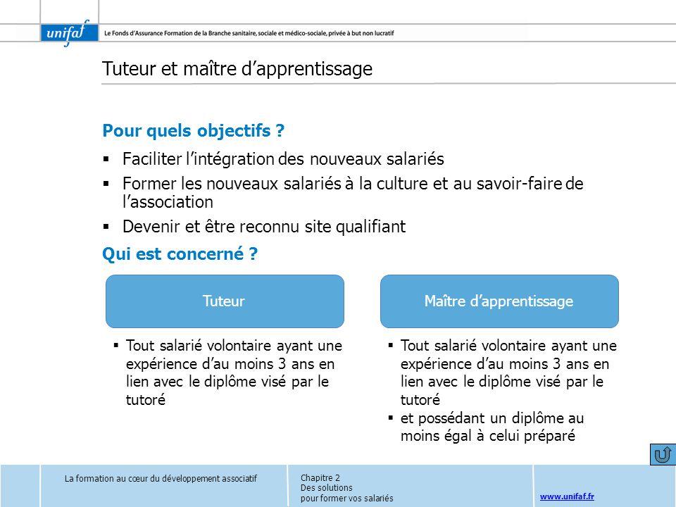 www.unifaf.fr Tuteur et maître dapprentissage Pour quels objectifs ? Faciliter lintégration des nouveaux salariés Former les nouveaux salariés à la cu