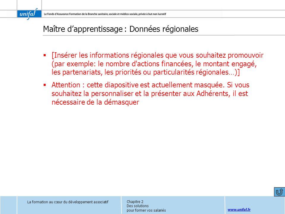 www.unifaf.fr Maître dapprentissage : Données régionales [Insérer les informations régionales que vous souhaitez promouvoir (par exemple: le nombre d'