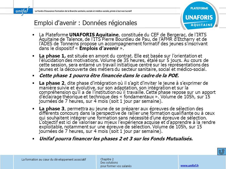 www.unifaf.fr Emploi d'avenir : Données régionales La Plateforme UNAFORIS Aquitaine, constituée du CEF de Bergerac, de lIRTS Aquitaine de Talence, de