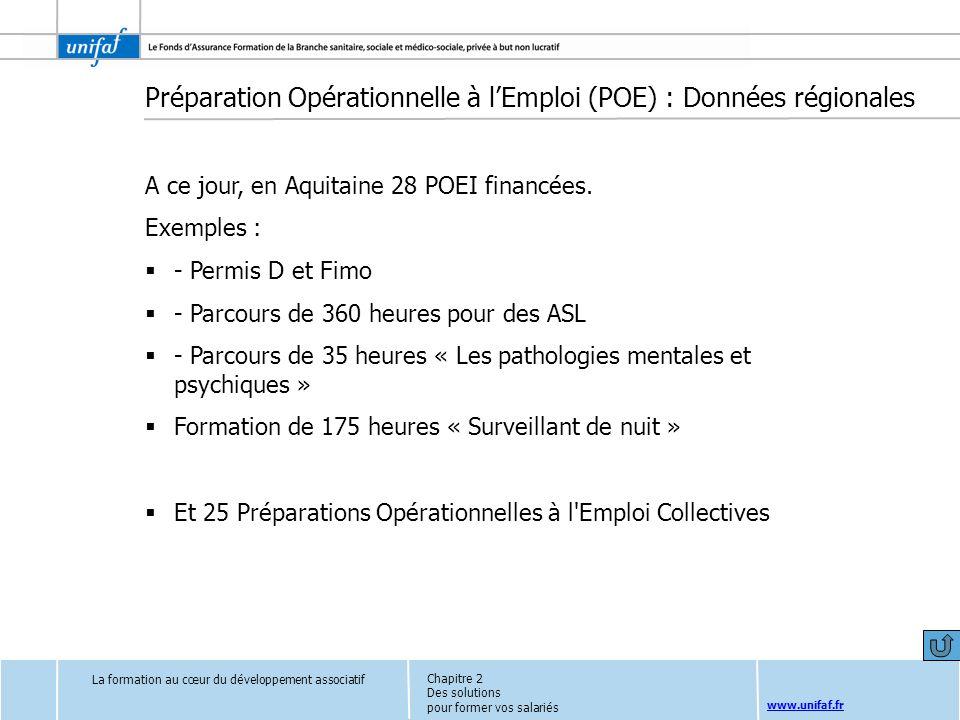 www.unifaf.fr Préparation Opérationnelle à lEmploi (POE) : Données régionales A ce jour, en Aquitaine 28 POEI financées. Exemples : - Permis D et Fimo