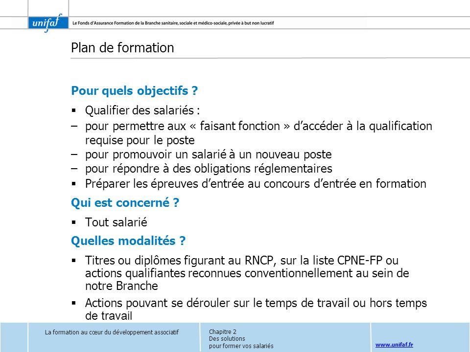 www.unifaf.fr Plan de formation Pour quels objectifs ? Qualifier des salariés : –pour permettre aux « faisant fonction » daccéder à la qualification r