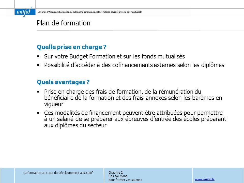 www.unifaf.fr Plan de formation Quelle prise en charge ? Sur votre Budget Formation et sur les fonds mutualisés Possibilité daccéder à des cofinanceme