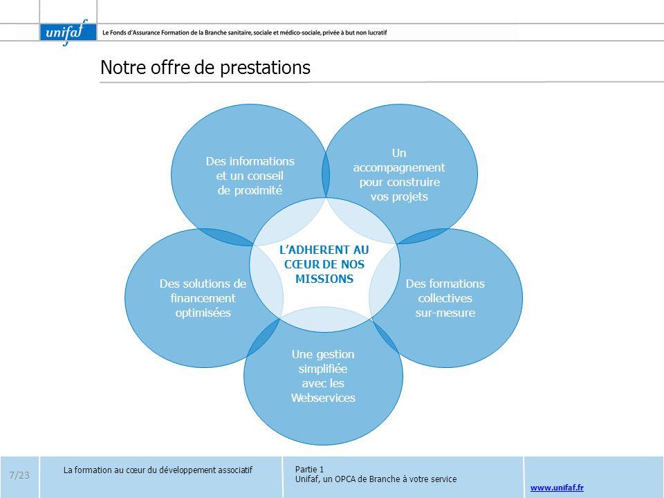 www.unifaf.fr Notre offre de prestations 7/23 La formation au cœur du développement associatif Des solutions de financement optimisées Une gestion sim