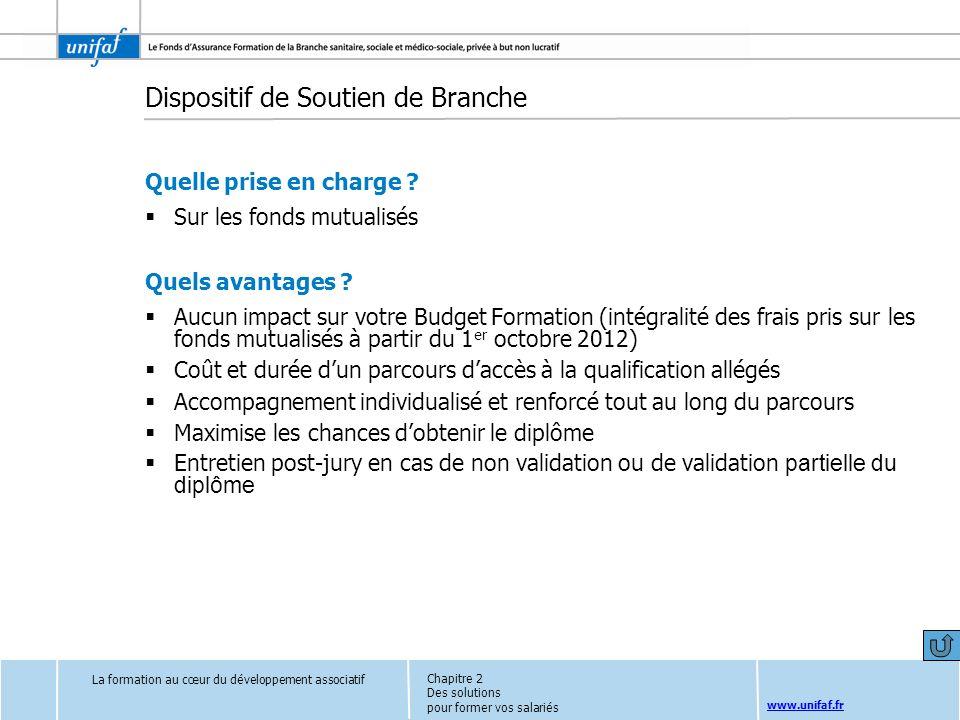 www.unifaf.fr Dispositif de Soutien de Branche Quelle prise en charge ? Sur les fonds mutualisés Quels avantages ? Aucun impact sur votre Budget Forma