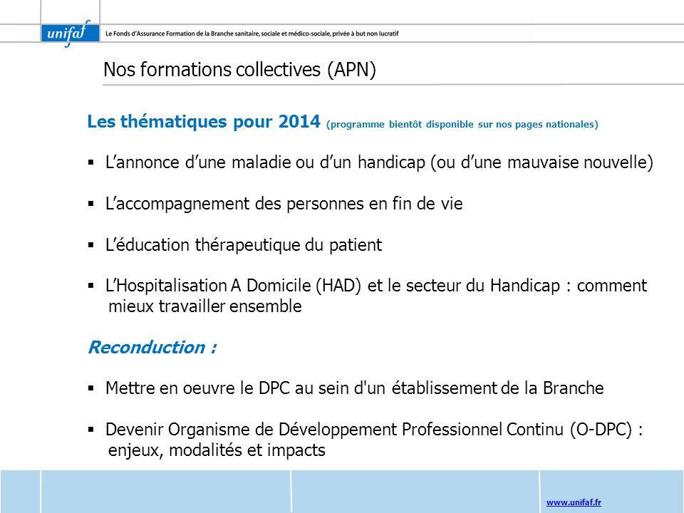 www.unifaf.fr Les thématiques pour 2014 (programme bientôt disponible sur nos pages nationales) Lannonce dune maladie ou dun handicap (ou dune mauvais