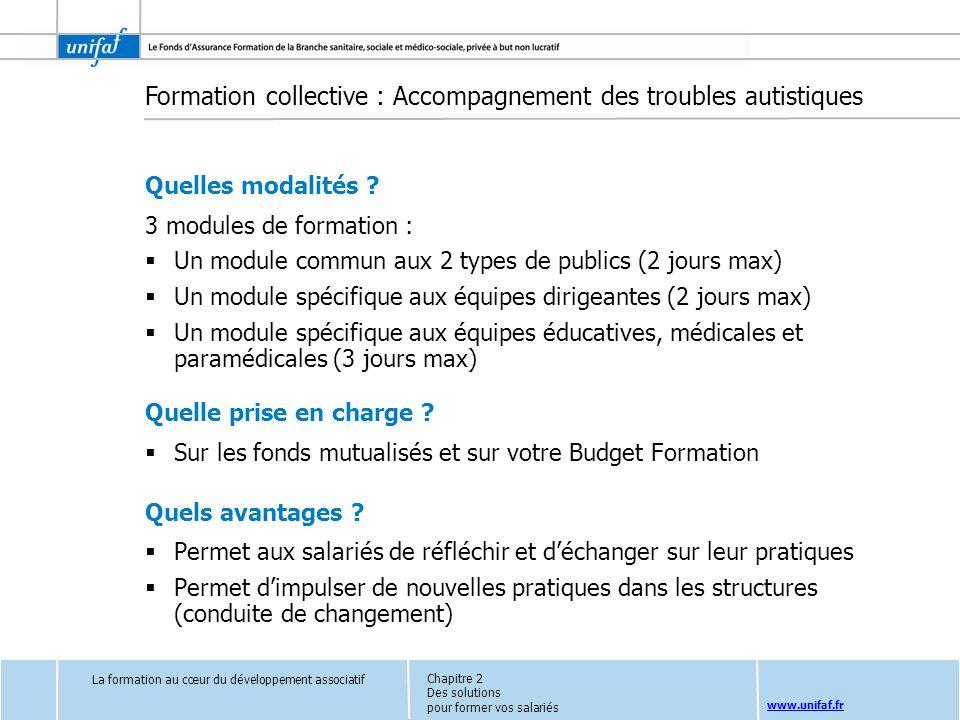 www.unifaf.fr Formation collective : Accompagnement des troubles autistiques Quelles modalités ? 3 modules de formation : Un module commun aux 2 types
