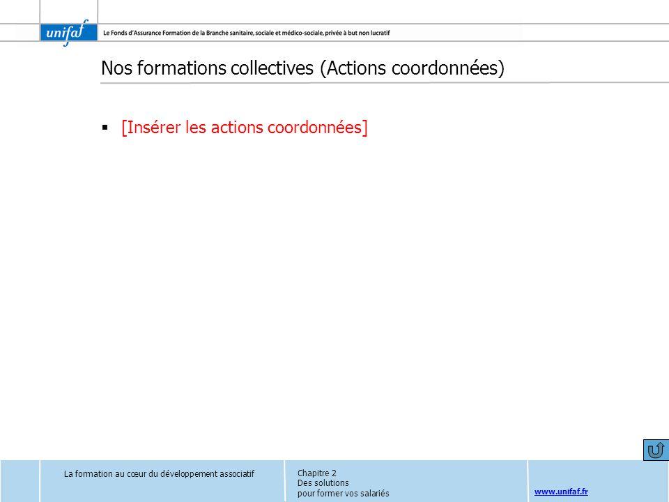 www.unifaf.fr Nos formations collectives (Actions coordonnées) [Insérer les actions coordonnées] La formation au cœur du développement associatif Chap