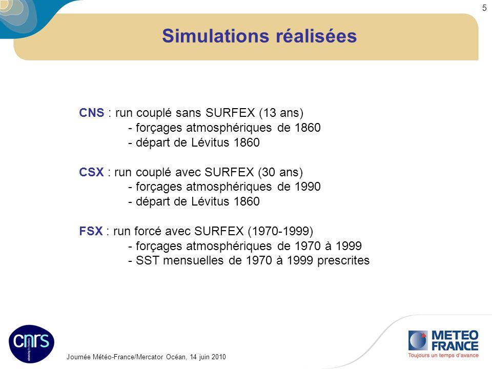 Journée Météo-France/Mercator Océan, 14 juin 2010 5 Simulations réalisées CNS : run couplé sans SURFEX (13 ans) - forçages atmosphériques de 1860 - dé
