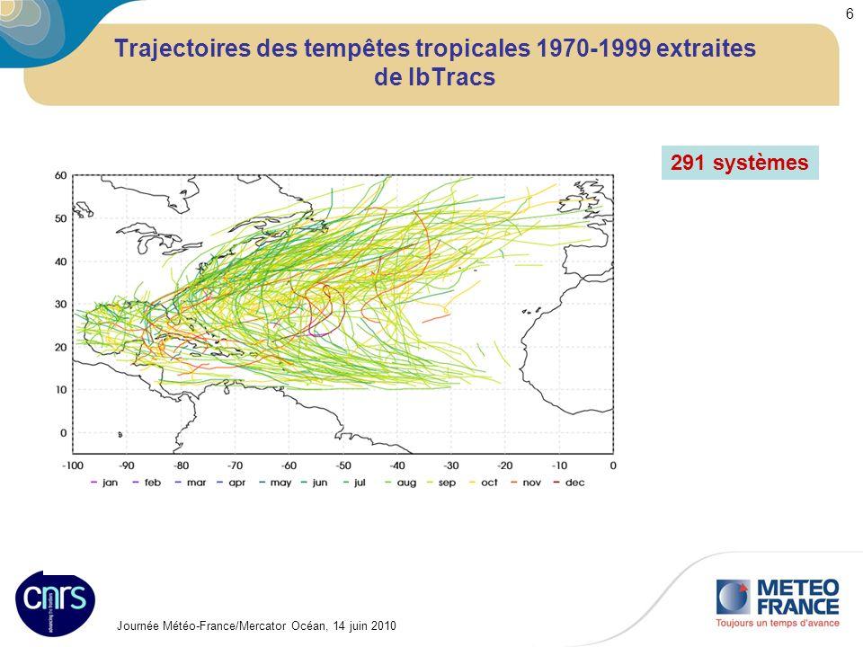 Journée Météo-France/Mercator Océan, 14 juin 2010 6 Trajectoires des tempêtes tropicales 1970-1999 extraites de IbTracs 291 systèmes