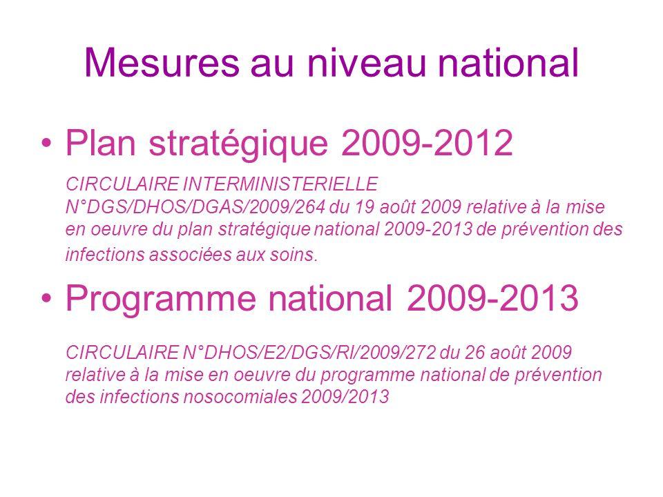 Mesures au niveau national Plan stratégique 2009-2012 CIRCULAIRE INTERMINISTERIELLE N°DGS/DHOS/DGAS/2009/264 du 19 août 2009 relative à la mise en oeu
