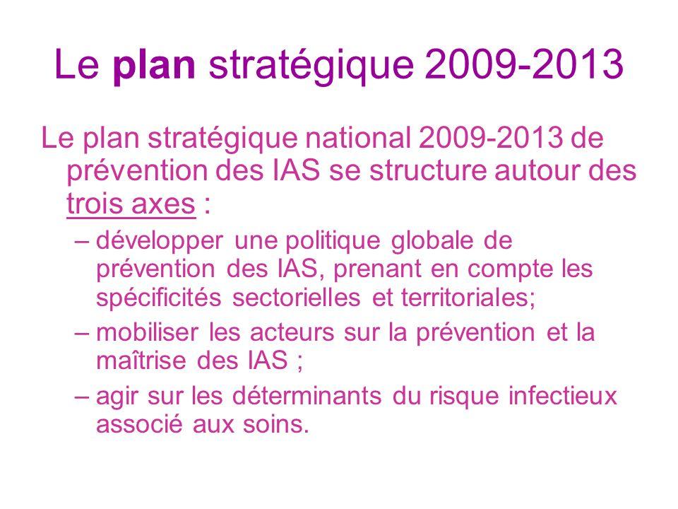 Le plan stratégique 2009-2013 Le plan stratégique national 2009-2013 de prévention des IAS se structure autour des trois axes : –développer une politi
