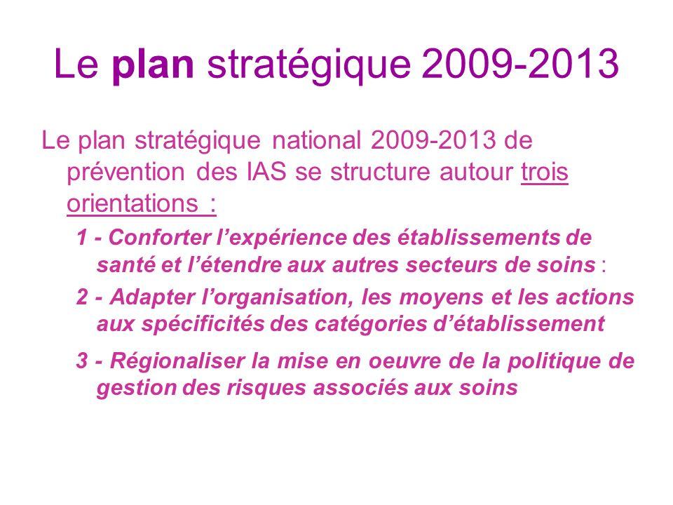 Le plan stratégique 2009-2013 Le plan stratégique national 2009-2013 de prévention des IAS se structure autour trois orientations : 1 - Conforter lexp