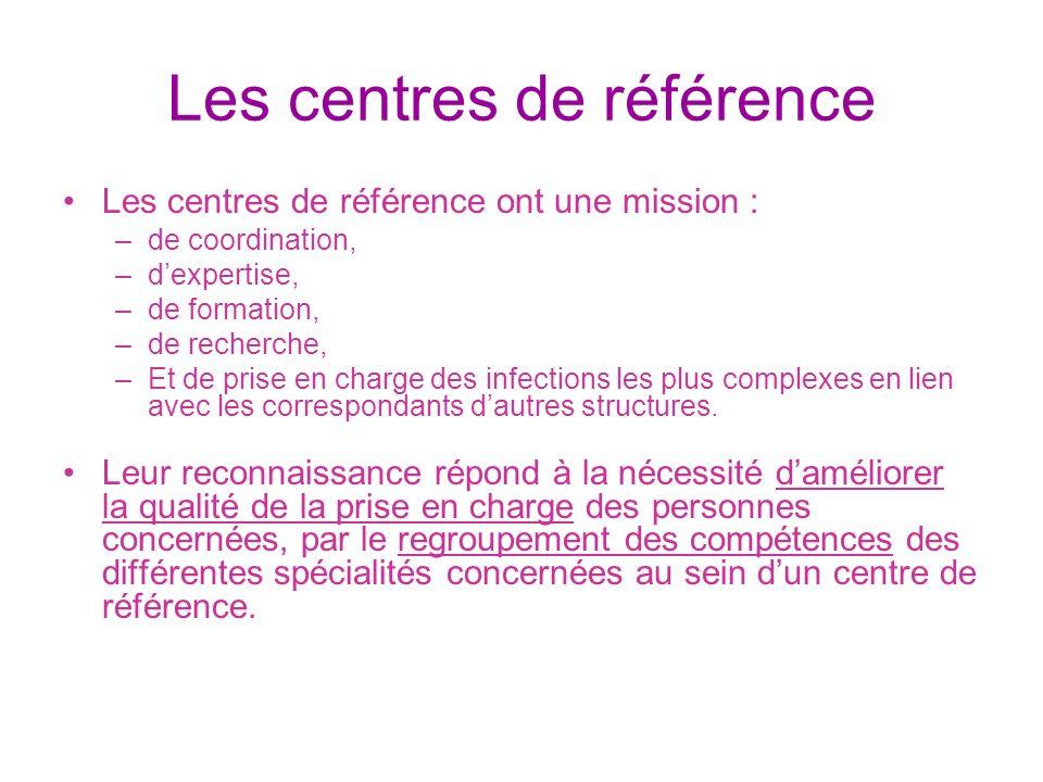 Les centres de référence Les centres de référence ont une mission : –de coordination, –dexpertise, –de formation, –de recherche, –Et de prise en charg