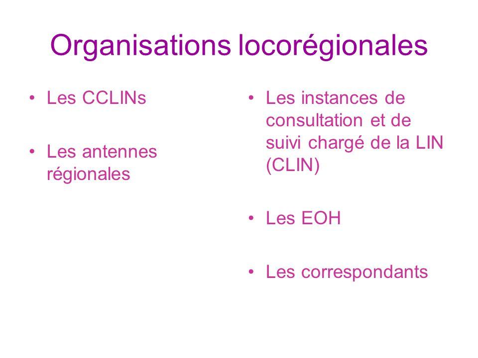 Organisations locorégionales Les CCLINs Les antennes régionales Les instances de consultation et de suivi chargé de la LIN (CLIN) Les EOH Les correspo