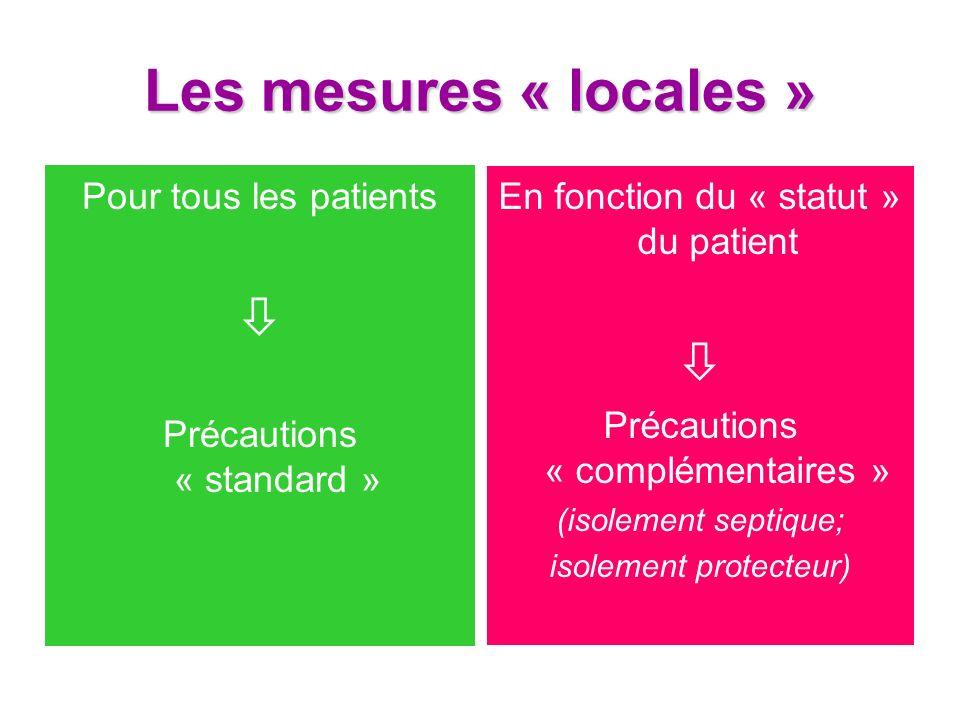 Les mesures « locales » Pour tous les patients Précautions « standard » En fonction du « statut » du patient Précautions « complémentaires » (isolemen