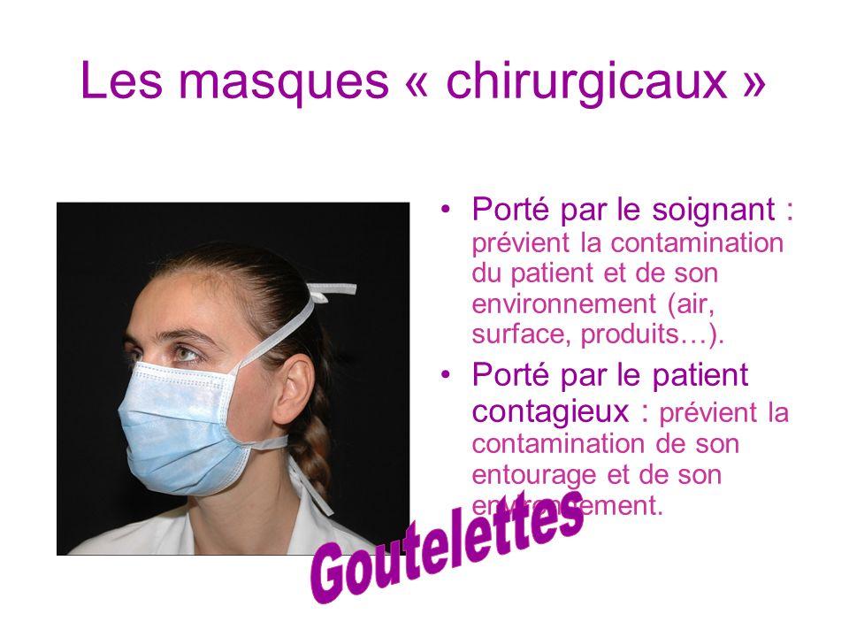 Les masques « chirurgicaux » Porté par le soignant : prévient la contamination du patient et de son environnement (air, surface, produits…). Porté par
