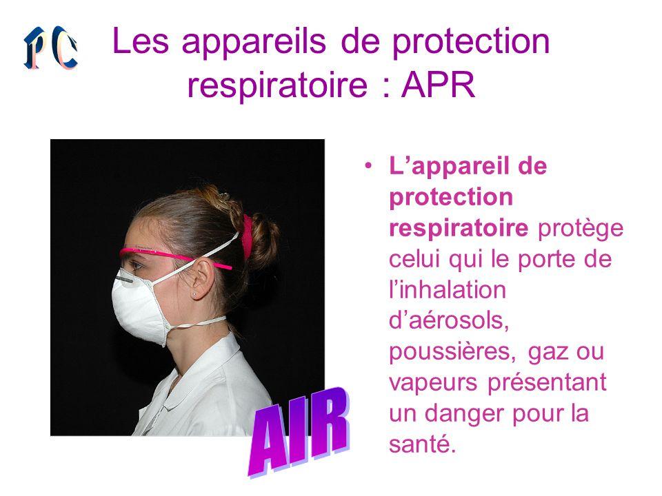 Les appareils de protection respiratoire : APR Lappareil de protection respiratoire protège celui qui le porte de linhalation daérosols, poussières, g
