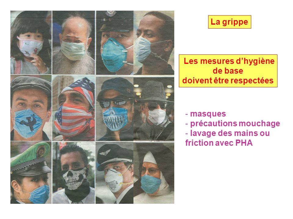 Les mesures dhygiène de base doivent être respectées - masques - précautions mouchage - lavage des mains ou friction avec PHA La grippe