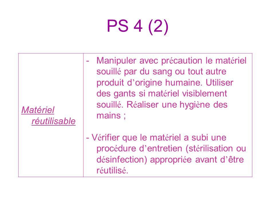 PS 4 (2) Matériel réutilisable -Manipuler avec pr é caution le mat é riel souill é par du sang ou tout autre produit d origine humaine. Utiliser des g