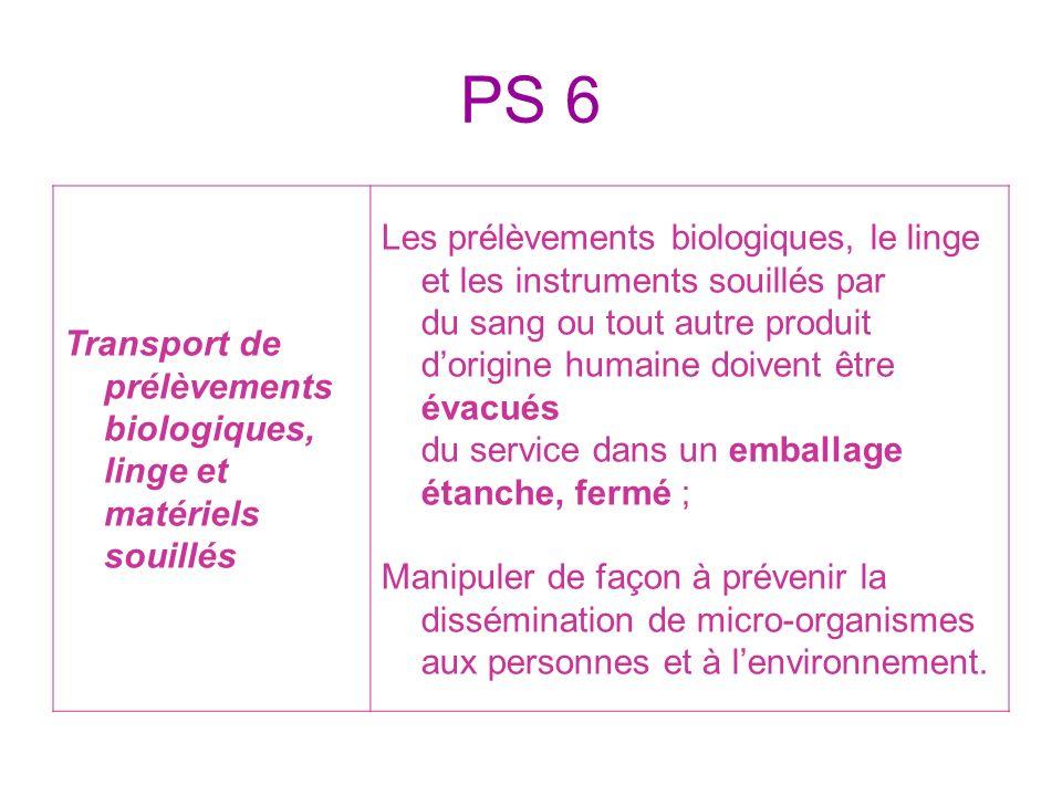PS 6 Transport de prélèvements biologiques, linge et matériels souillés Les prélèvements biologiques, le linge et les instruments souillés par du sang