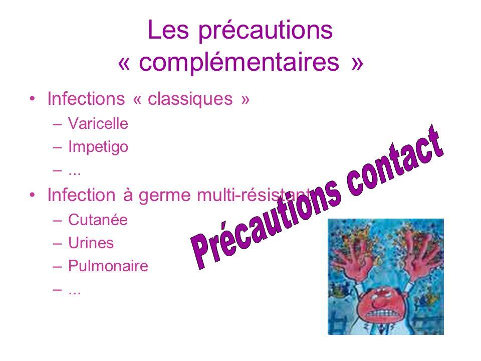 Les précautions « complémentaires » Infections « classiques » –Varicelle –Impetigo –... Infection à germe multi-résistant –Cutanée –Urines –Pulmonaire