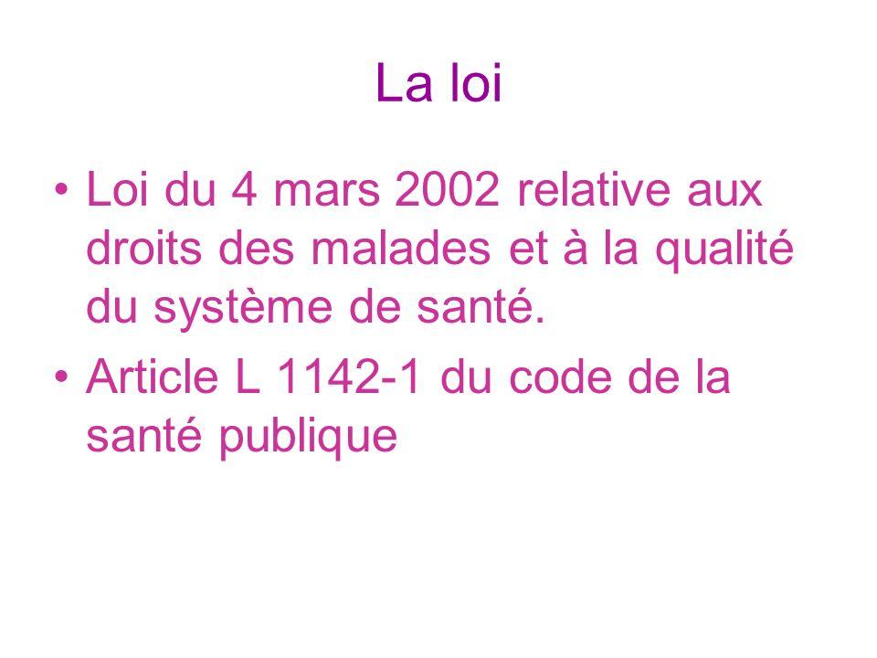 La loi Loi du 4 mars 2002 relative aux droits des malades et à la qualité du système de santé. Article L 1142-1 du code de la santé publique