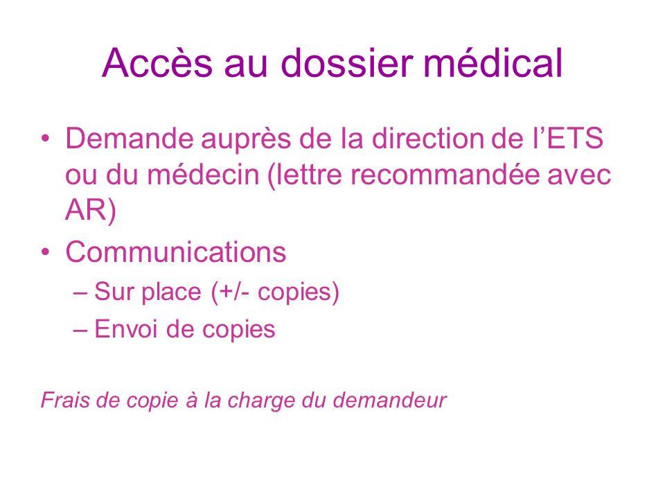 Accès au dossier médical Demande auprès de la direction de lETS ou du médecin (lettre recommandée avec AR) Communications –Sur place (+/- copies) –Env