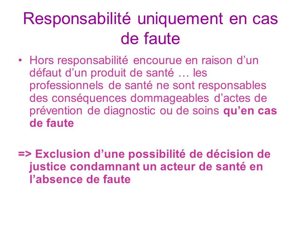 Responsabilité uniquement en cas de faute Hors responsabilité encourue en raison dun défaut dun produit de santé … les professionnels de santé ne sont
