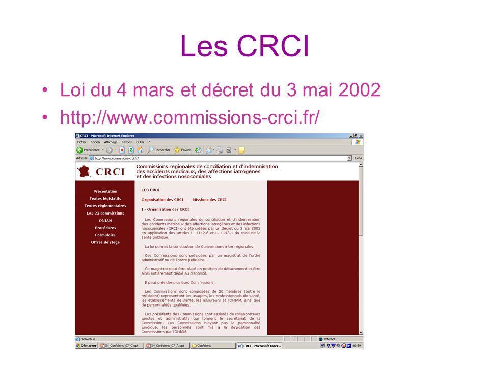 Les CRCI Loi du 4 mars et décret du 3 mai 2002 http://www.commissions-crci.fr/