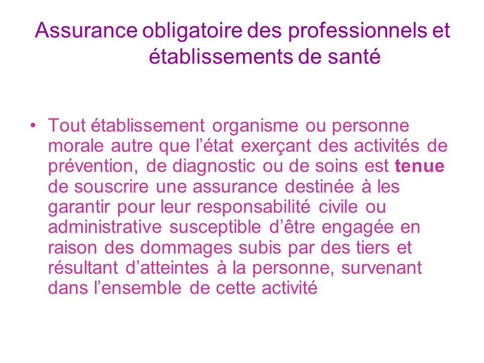 Assurance obligatoire des professionnels et établissements de santé Tout établissement organisme ou personne morale autre que létat exerçant des activ