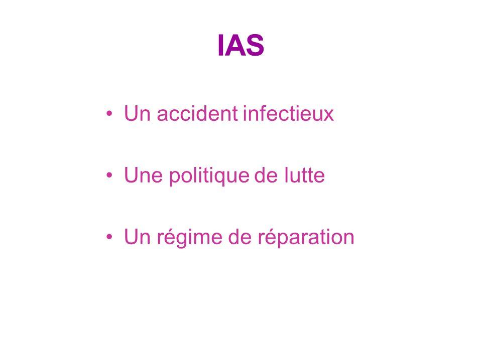 IAS Un accident infectieux Une politique de lutte Un régime de réparation