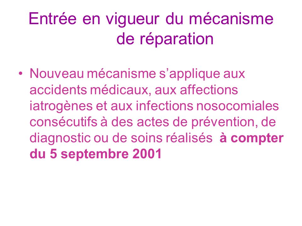 Entrée en vigueur du mécanisme de réparation Nouveau mécanisme sapplique aux accidents médicaux, aux affections iatrogènes et aux infections nosocomia