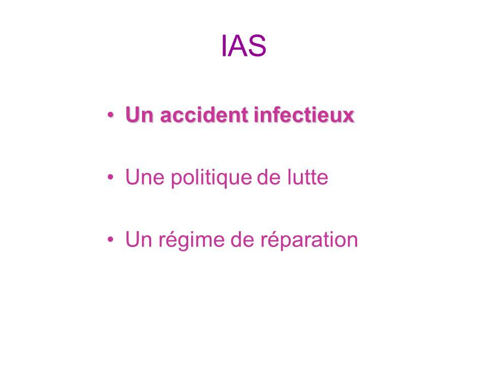 IAS Un accident infectieuxUn accident infectieux Une politique de lutte Un régime de réparation